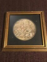 Antique French Vintage Framed Wall Hanging Tapestry 12x12
