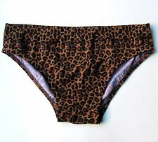 MENS Swim Brief Swimsuit in Regular or Low-Rise in Brown Leopard Print: S-M-L-XL