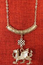 Welsh Dragon Pendant Celtic Wales King Medieval Silver Pewter Chain Necklace