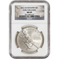 2012-W Us Infantry Soldier Commemorative Bu Silver $1 Ngc Ms69 Er Camo Label