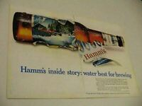 1967 Print Ad Hamm's Beer Cold Bottle Canoe in Stream