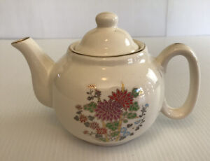 Small 3 Cup (750ml) Ceramic Teapot With Flower Design And Gold Accents