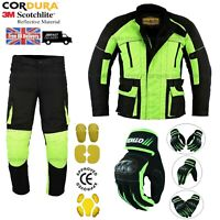HIVIZ MOTORCYCLE TEXTILE JACKET TROUSERS GLOVES CE ARMOUR WINTER MOTORBIKE SUIT