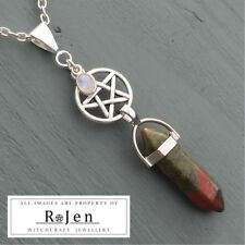 Unakite Point & Silver Rainbow Moonstone Charm, Pentagram Pendant Pagan Wiccan