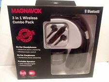 Magnavox 3 in 1 Wireless Combo Pack Bluetooth Headphones Portable Speaker NIB