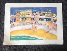 "PONCKLE FLETCHER 1934-2012 St Ives ""St Ives Harbour, traffic free"" PRINT Cats"
