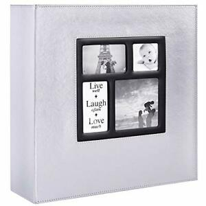 Photo Album 500 Pockets 6x4 Photos Extra Large Leather Cover Slip in Wed Silver✅