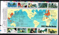 US WW2 1942 World at War into the Battle Map set MNH