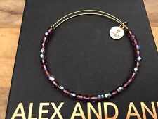 NEW ALEX and ANI Purple AMETHYST ROCK CANDY Crystal GOLD Beaded Bangle BRACELET