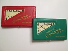 2 MINI DOUBLE SIX DOMINOES DOMINO SETS OF 28 IVORY TILES CASE GREEN/RED