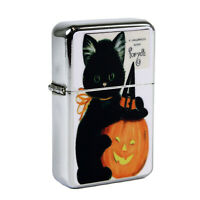Refillable Oil Windproof Flip Top Lighter Halloween JOL Black Cat Retro Vintage