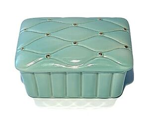 Vintage Porcelain Trinket Jewelry Box Candy Dish Light Green with Gold Detail