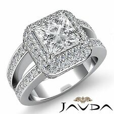 Split Shank Princess Diamond Engagement HaloRing Gia F Vs2 18k White Gold 2.75ct