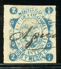 Colombia - ANTIOQUIA Used Selections: Scott #5 2½c Blue (1869) CV$6+