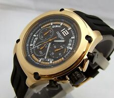 FORCE ONE VALKEN SPORT CHRONOGRAPH WATCH, GOLD IP STNL STL, BLK RUBBER STRAP NIB