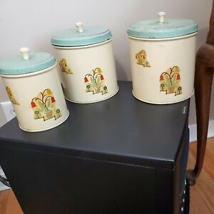 Vintage Tin Canister Set -Depression Era with Tulip Transfers