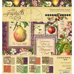 New 2020 Graphic 45 Fruit & Flora Double-Sided Paper Pad, 8x8 ~ 24Pg, G4501999