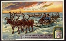 Reindeer Sleigh Sled Arctic Siberia Russia Winter Samoyed c1917 Trade Ad Card