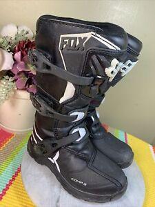 FOX Racing Dirt bike Motocross Black/White Boots Comp 3 Youth's Size EU 35 US Y3