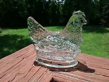 Clear Glass Hen Candy Container
