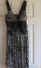 Ladies zebra print stretch dress spring NWT size 6 womens casual bow front