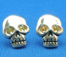 Human Skull Earrings, natural yellow sapphire eyes, hand crafted sterling silver