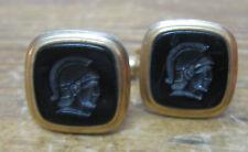Mens Vintage Cufflinks Cuff Links Kremen Patent Trojan Intaglio Black Gold Tone