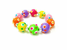 """Colorful Polka Dot Round Bead Stretch Bracelet 7.5"""" New Woman Fashion Easter"""