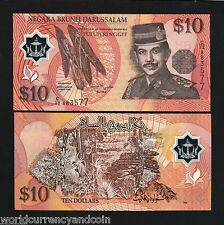 BRUNEI 10 RINGGIT P24 1998 *POLYMER* UNC CURRENCY ASEAN MONEY BILL BANK NOTE