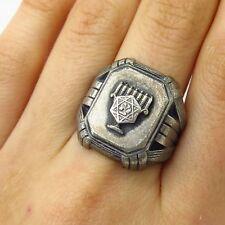 Vtg Balfour 925 Sterling Silver Judaica Menorah Heavy Wide Signet Ring Size 8