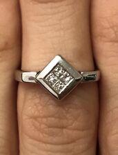 Elegant Italian 14k White Gold Diamond Engagement Ring, Size 4,5