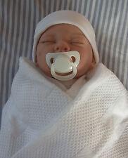 NINES D'ONIL NEWBORN / REBORN EYES CLOSED BABY DOLL + BLANKET & CLOTHES - VGC