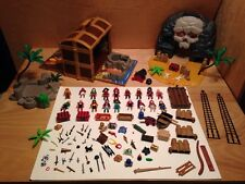 HUGE LOT PLAYMOBIL PIRATE SHIP & SKULL ISLAND CASE TREASURE CHEST 5804 5737
