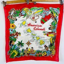 New listing Vintage Hawaiian Island Souvenir Silk Scarf Hula Girls Luau 50's Retro Bright