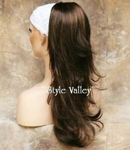 Long Brown Mix Ponytail Extension Straight Clip in /on Hair Piece  Wavy ends