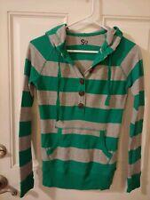 SO Women's Medium Zip-up Sweatshirt Hoodie Long sleeve Shirt Hooded Green Stripe