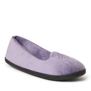 Dearfoams Rebecca Microfiber Velour Closed Back Slipper Smokey Purple Large 9-10