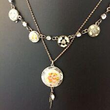 PILGRIM 2 Row Layer Necklace Danish Costume Jewellery Flowers Silver Tone Boho