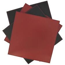 Inspire Set of 4 Square Faux Leather Coasters Black & Red Stitching Detail