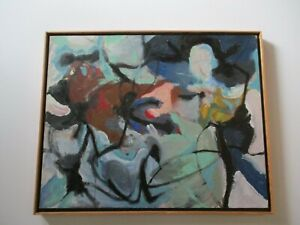 LARGE VINTAGE PAINTING ABSTRACT EXPRESSIONISM MODERNISM COLORFUL JENNINGS 1970'S