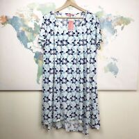 Simply Aster by Firmiana Floral Dress White Short Sleeves Hi Low Hem NWT Size 2X