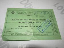 Ricevuta Posteggio Tronchetto Comune di Venezia anni 60