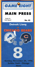 $11.99 SALE! 11/24/96 FOOTBALL PRESS PASS-BEARS/LIONS