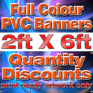 6 ft x 2 ft PVC VINYL BANNER Custom Printed OUTDOOR ADVERTISING Free Delivery