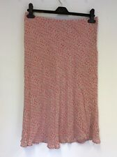 MONSOON PINK FLORAL PRINT SILK KNEE LENGTH SKIRT SIZE 12