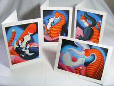 Cats in Love!: Set of 4 Beautiful Art Greeting Cards
