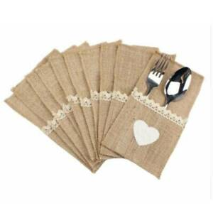 Hessian Burlap Party Cutlery Holder Lace Rustic Wedding Table Decorations SG