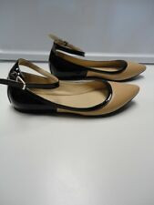 BCBGENERATION Beige Black Man Made Pointed Toe Ankle Strap Flats Size 7 B4095
