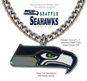 LARGE SEATTLE SEAHAWKS STAINLESS STEEL CHAIN NECKLACE NFL FOOTBALL  FREE SHIP 1'