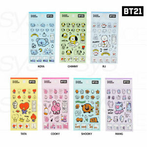 BTS BT21 Official Authentic Goods Clear Sticker Ver3 7SET By Kumhong + Tracking#